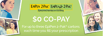 EpiPen 2-Pak® EpiPenJr 2-Pak® (Epinephrine) Auto-Injectors 0.3/0.15mg | $0 CO-PAY For up to three EpiPEn 2-Pak® cartons each time you fill your prescription