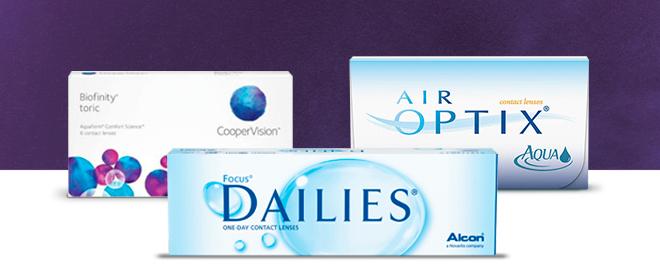 Biofinity, DAILIES, and Air Optix contact lenses.