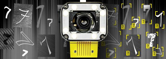 In-Sight D900 vision system reading variations of the number 7