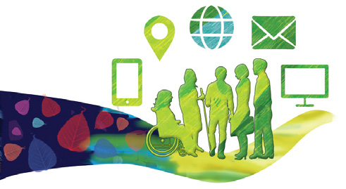 an art design of people in a group with symbols around them for a phone, location, internet, email and a screan.