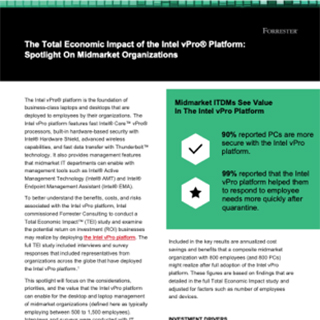 See the Total Economic Impact™ of the Intel vPro® Platform for Midmarket Organizations