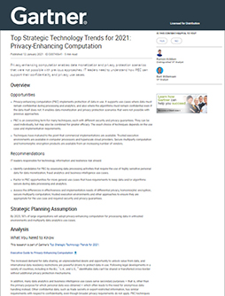 Privacy-Enhancing Computation—Gartner's Top Strategic Technology Trends for 2021