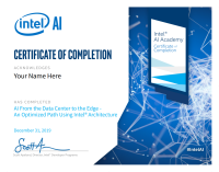 Intel AI Certificate Of Completion